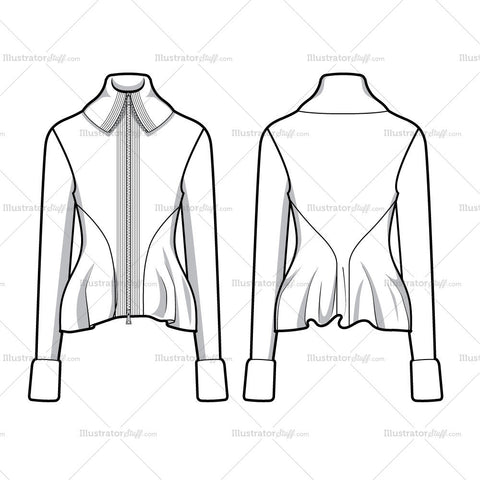 Knit Peplum Jacket Flat Template