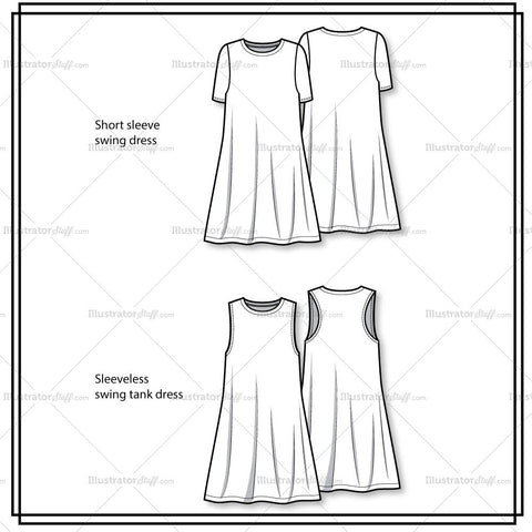 Knit Swing Dress Flat Template