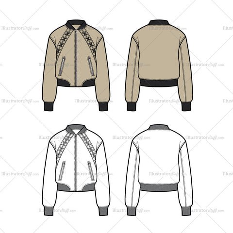 Lace Up Bomber Jacket Flat Template