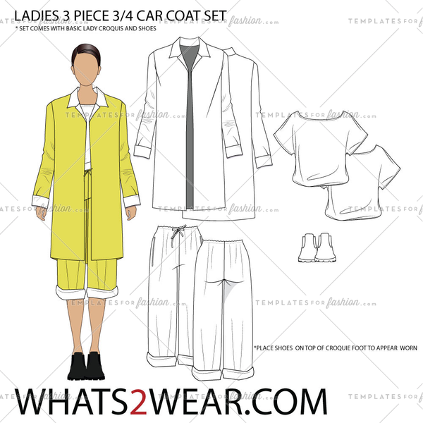 Ladies 3Pc 3/4 Length Car Coat  Fashion Croquis Template Set
