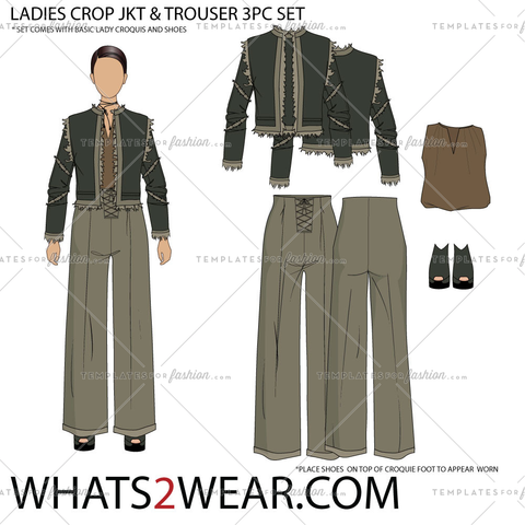 LADIES CROP JKT & TROUSER 3PC SET