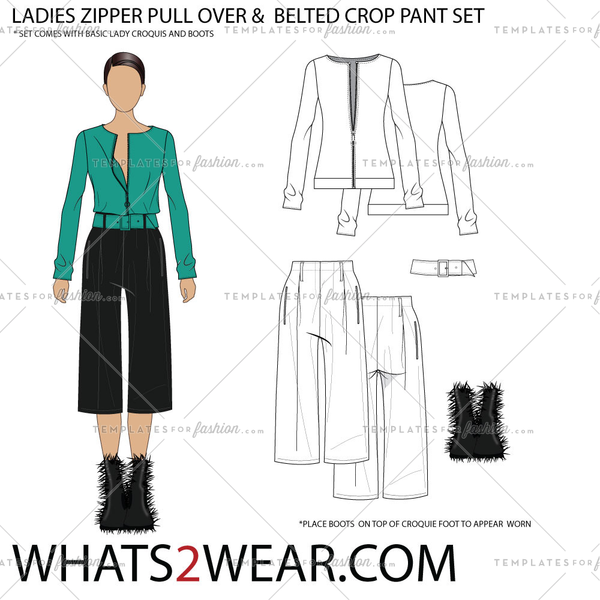 LADIES ZIPPER PULL OVER & BELTED CROP PANT SET