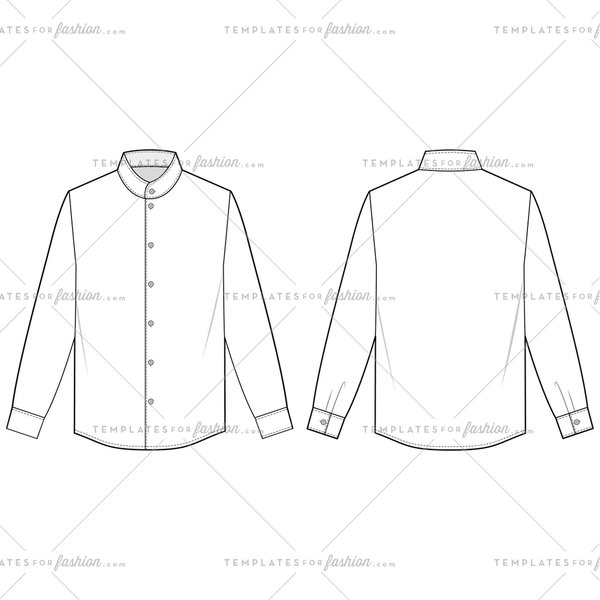LONG SLEEVE SHIRTS fashion flat sketch template