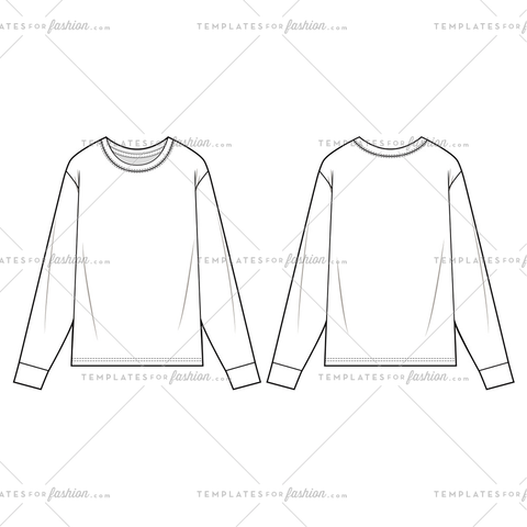 LONG SLEEVE TEE fashion flat sketch template