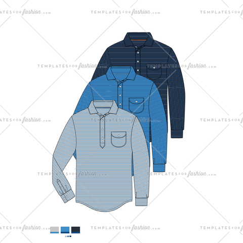 LS Popover with pocket Fashion Flat Vector Template