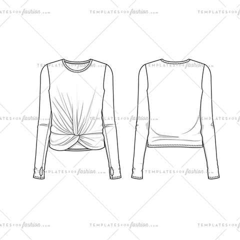 Women's Sketch of a Long Sleeve Twisted Front Top