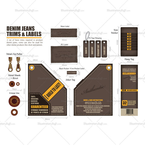 Denim Jeans Trims and Labels Vector Fashion Template Set