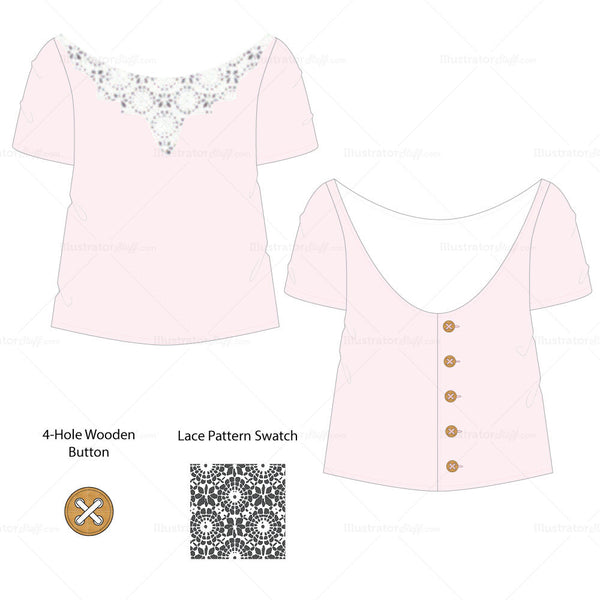 {Illustrator Stuff} Women's Lace Button Back Top Fashion Sketch Template