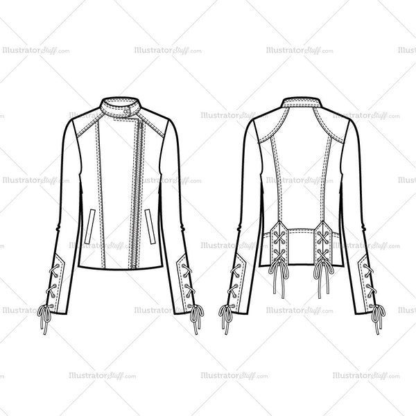 Lace Up Detail Moto Jacket Flat Template