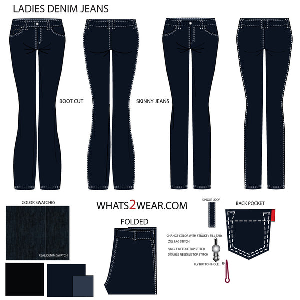 Women's Jean Fashion Flat Template – Templates for Fashion