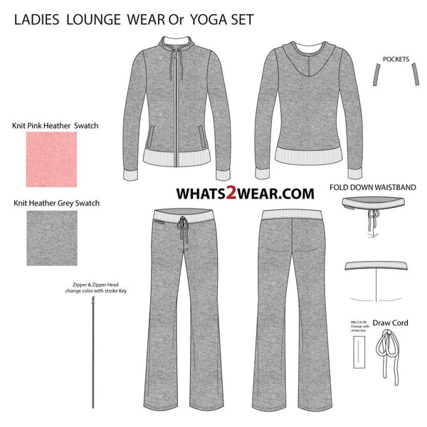{Illustrator Stuff} Women's Yoga Loungewear Illustrator Fashion Flat