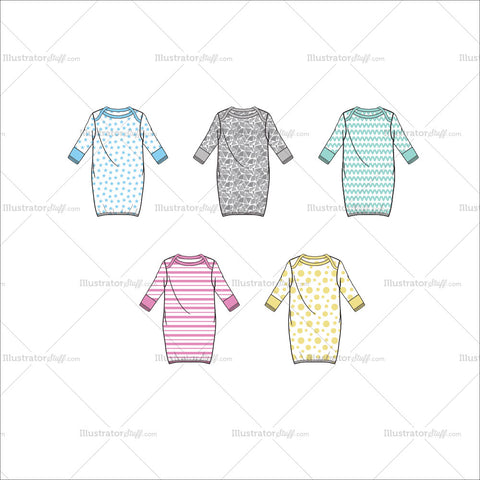 Layette Gown Fashion Flat Templates