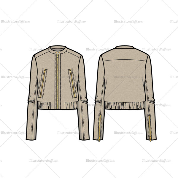 Leather Bomber Jacket Flat Template