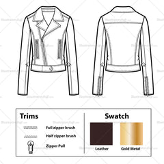 Leather Moto Jacket With Front Waist Tab Flat Template