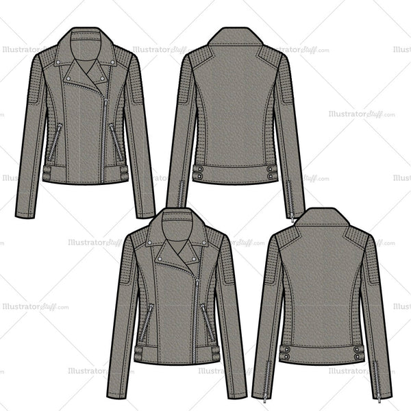 Leather Moto Jacket With Trapunto Stitch And Waist Tabs Flat Template