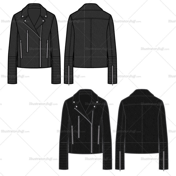 Leather Jacket With Straight Zippers Pockets Flat Template