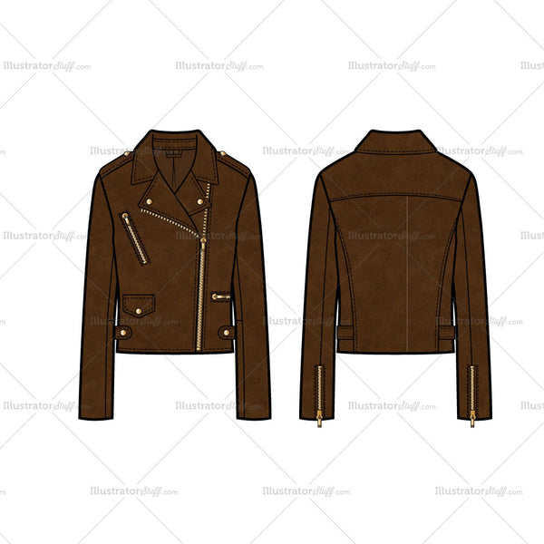 Leather Moto Jacket With Side Belt Tabs Flat Template