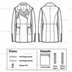 Leather/canvas Moto Jacket Flat Template