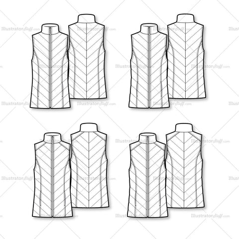Light Puffer Vest Variety Flat Template