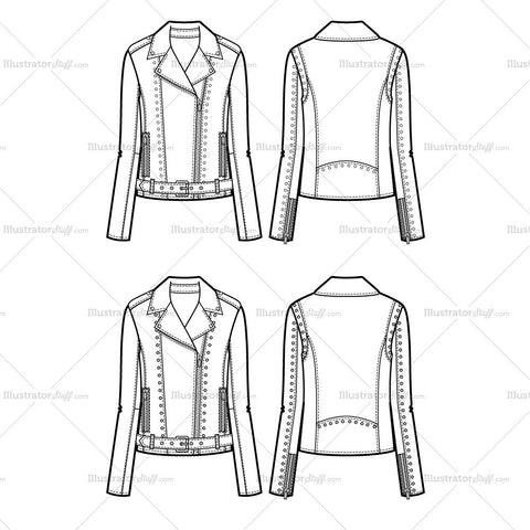 Lightly Studded Moto Jacket Flat Template