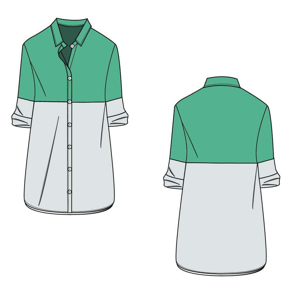 Women 39 s long colorblock shirt fashion flat template for How to design t shirts in illustrator