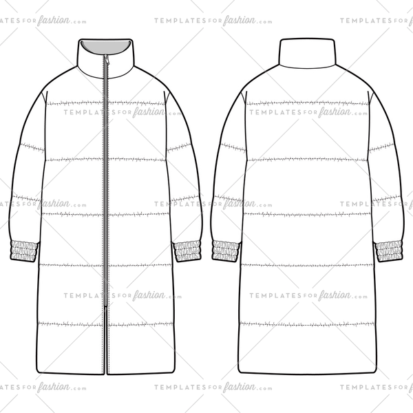 Long padded jacket Fashion Flat Templates