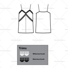 Loose Lace Camisole Top Flat Template