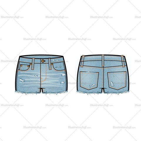 Low Rise Distressed Denim Shorts Flat Template