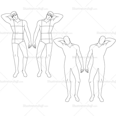 {Illustrator Stuff} Male Fashion Croquis Template