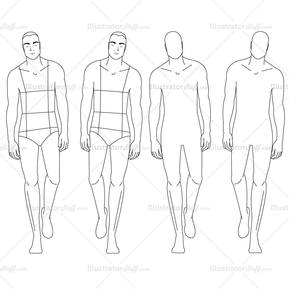 Male fashion croquis template illustrator stuff for Fashion designer drawing template