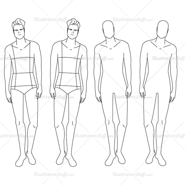 Male fashion croquis template templates for fashion for Clothing templates for illustrator