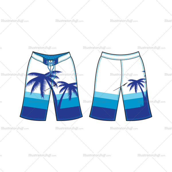 Men's Beach Board Shorts Fashion Flat Template