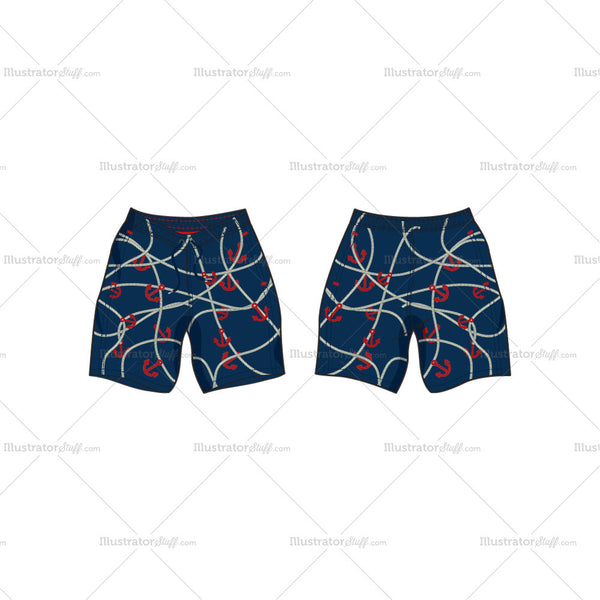 Men's Nautical Themed Swim Shorts Fashion Flat Template