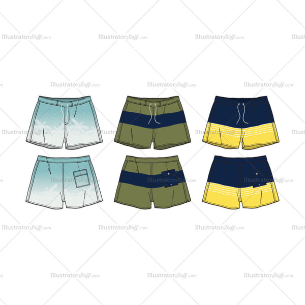 Set of 3 Men's Swim Shorts Fashion Flat Template