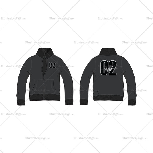 Men's Front Open Training Jacket Fashion Flat Template