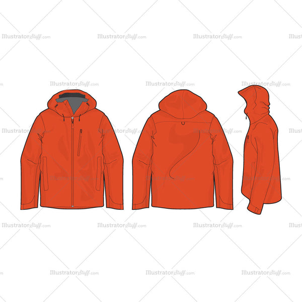 Men's Outdoor Climbing Jacket Fashion Flat Template