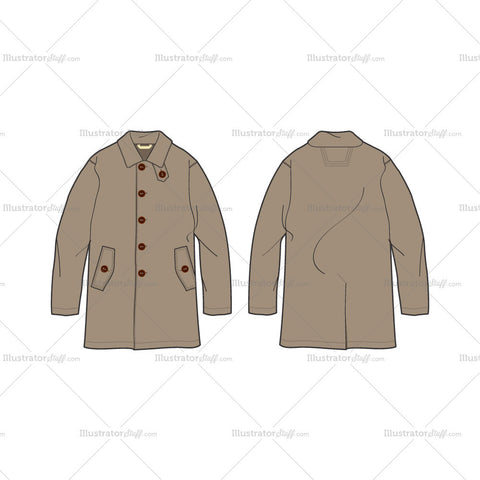 Men's Rain Coat or Mackintosh Coat Fashion Flat Template