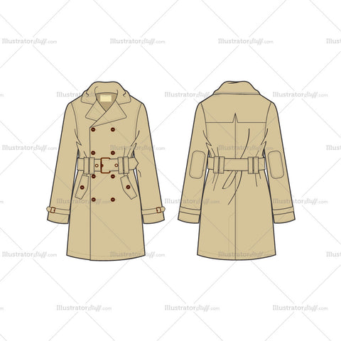 Men's Classic Trench Coat Fashion Flat Template