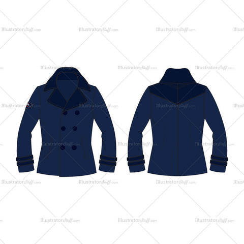 Men's Classic Navy Blue Pea Coat Fashion Flat Template