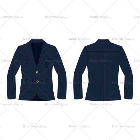 Men's Navy Blue Sport Blazer Fashion Flat Template