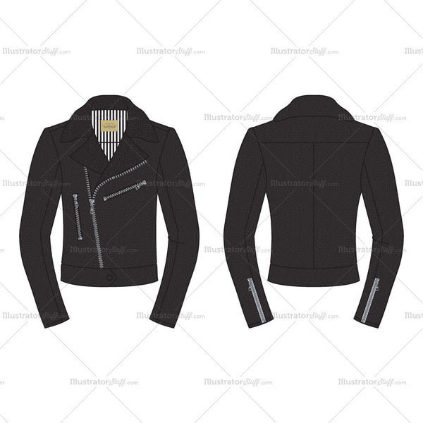 Men's Classic Leather Biker Jacket Fashion Flat Template