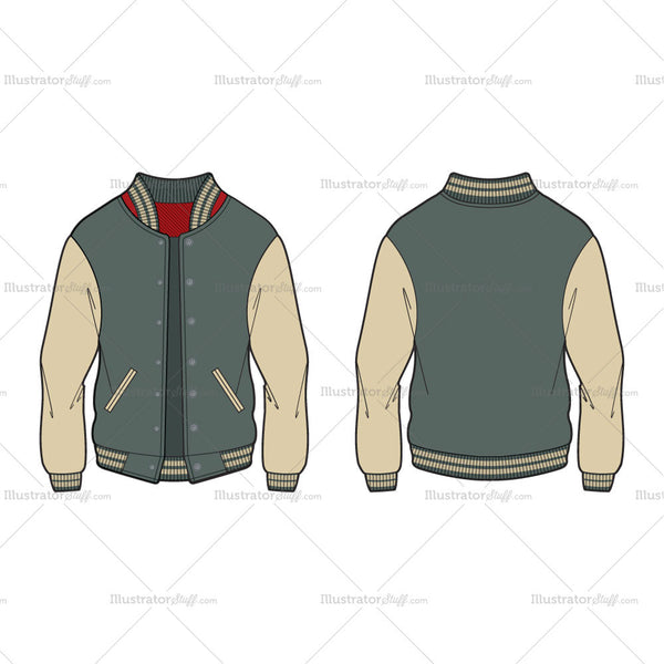 Men's Varsity Jacket / American Baseball Jacket Fashion Flat Template