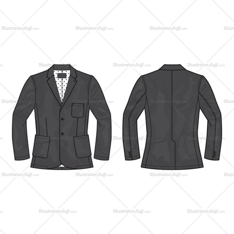 Men's Gray Slim-fit Sport Jacket Fashion Flat Template
