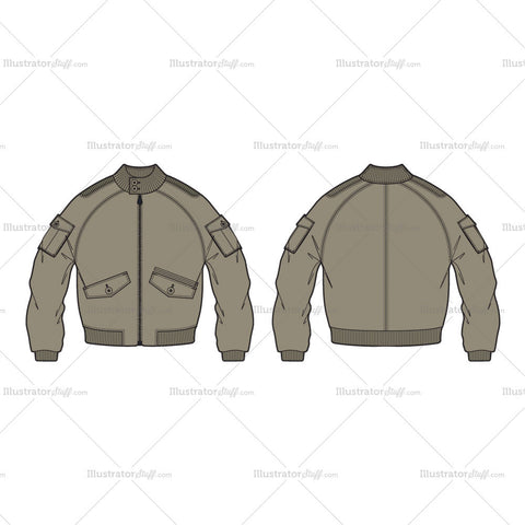 Men's Aeronautical Bomber Jacket Fashion Flat Template