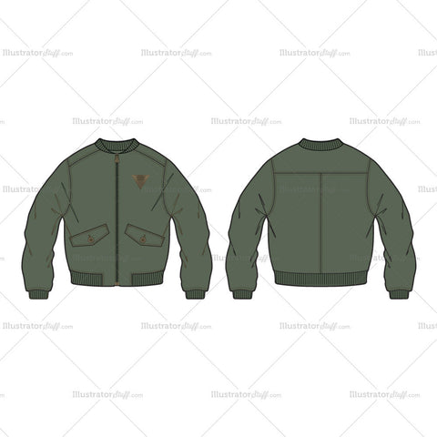 Men's Classic Bomber Jacket Fashion Flat Template