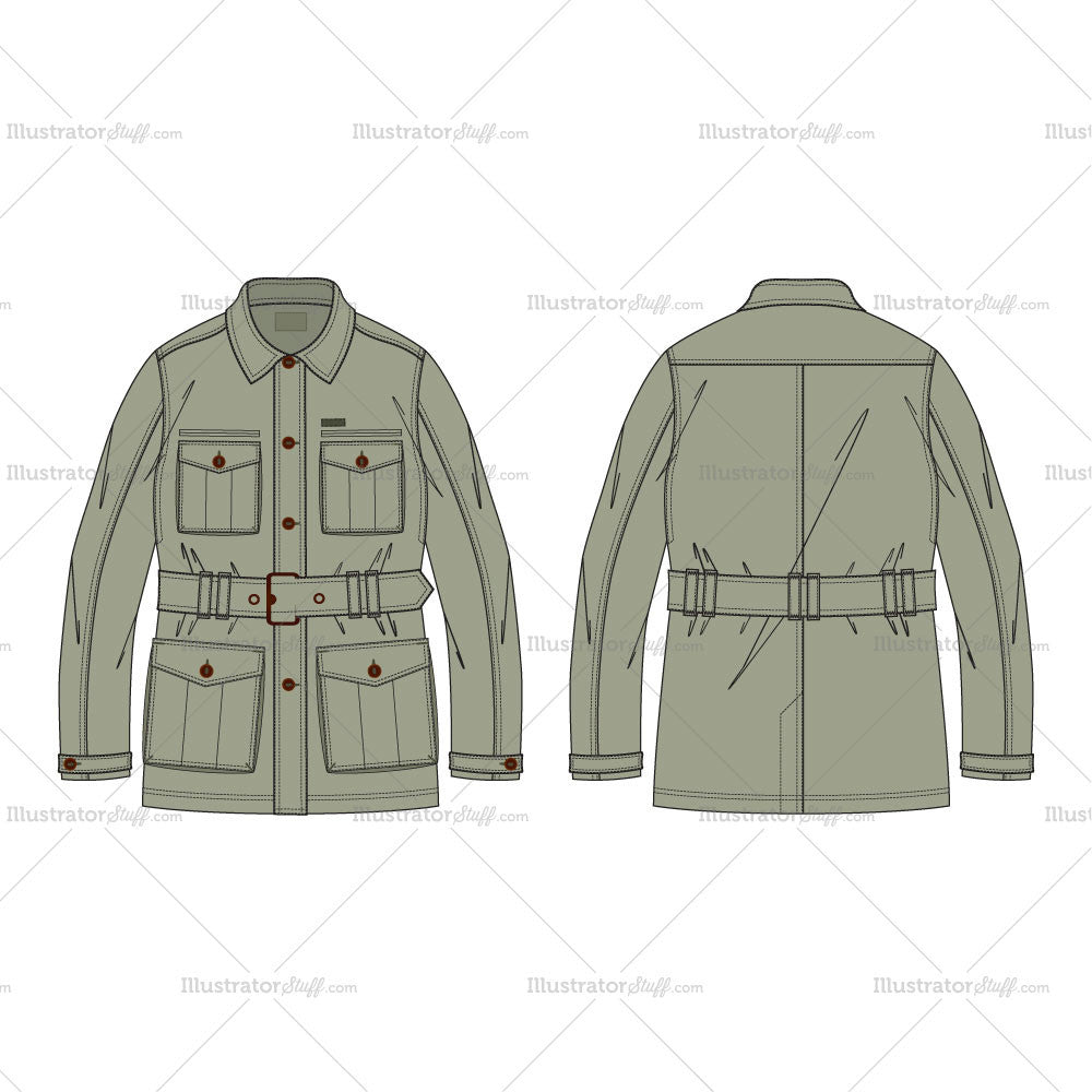 clothing templates for illustrator - men 39 s military green field jacket fashion flat template