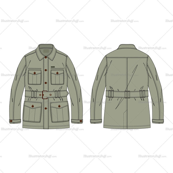 Men's Military Green Field Jacket Fashion Flat Template