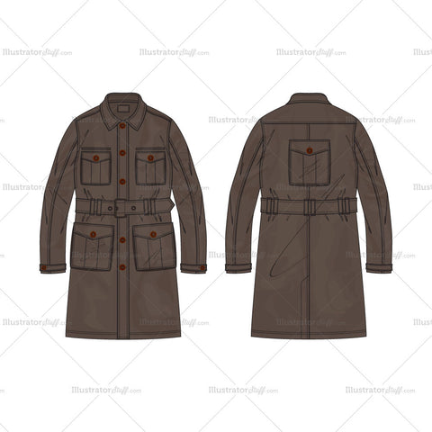 Men's Army Inspired Cargo Coat Fashion Flat Template