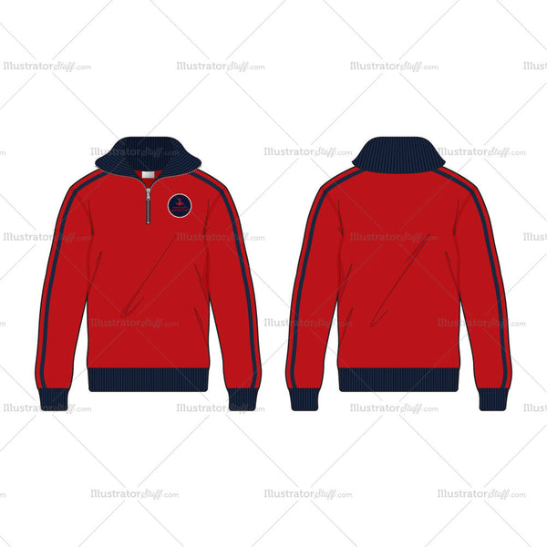 Men's Active Track Jacket Fashion Flat Template