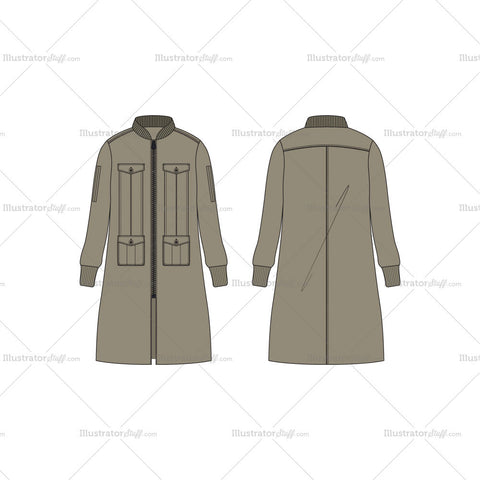 Men Long Bomber Jacket Vector Template